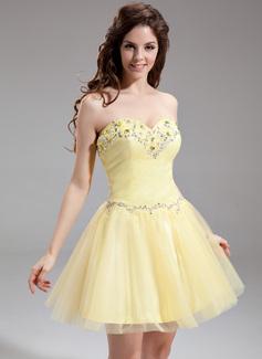 Forme Princesse Bustier en coeur Court/Mini Tulle Robe de soirée étudiante avec Emperler (022016306)