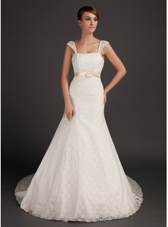 Trumpet/Mermaid Chapel Train Satin Lace Wedding Dress With Sash Bow(s) (002015559)