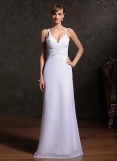 Etui-Linie Herzausschnitt Bodenlang Chiffon Festliche Kleid mit Rüschen Perlen verziert (020015086)