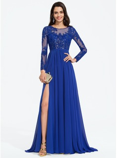 A-Line Scoop Neck Sweep Train Chiffon Prom Dresses With Sequins Split Front (018187219)