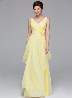 A-Line/Princess V-neck Floor-Length Chiffon Bridesmaid Dress With Flower(s) Cascading Ruffles (007037212)