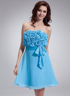 Empire Strapless Short/Mini Chiffon Homecoming Dress With Ruffle Flower(s) Bow(s) (022008131)