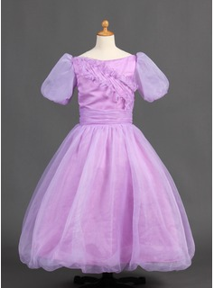 Ball Gown Floor-length Flower Girl Dress - Organza/Satin Short Sleeves Bateau With Ruffles (010015886)