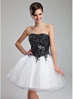 Robe de Bal de Promo Ligne-A/Princesse Cur Court/Mini Organza Paillet Robe de Bal de Promo avec Dentelle (018018834)