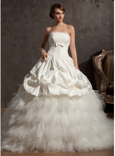 Ball-Gown Scalloped Neck Chapel Train Satin Tulle Wedding Dress With Beading Flower(s) Bow(s) (002014861)