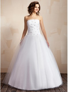 Robe de Marie bal Sans bretelles Longeur au sol Taffetas Tulle Robe de Marie avec Ondul Perl (002000041)