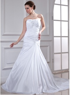 A-Line/Princess Sweetheart Watteau Train Taffeta Wedding Dress With Ruffle Lace Beadwork Sequins (002012809)