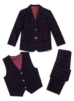 Boys Plaid Ring Bearer Suits With Jacket Vest Pants (287199777)