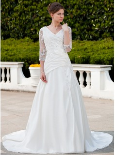 A-Line/Princess V-neck Chapel Train Taffeta Tulle Wedding Dress With Ruffle Lace Beading (002011625)