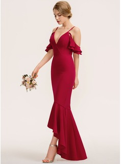 Trumpet/Mermaid V-neck Asymmetrical Stretch Crepe Evening Dress With Cascading Ruffles (017208812)