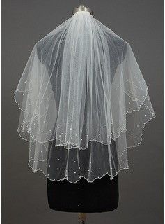 Two-tier Fingertip Bridal Veils With Pearl Trim Edge/Scalloped Edge (006034399)