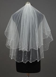 Zweischichtig Fingerspitze Braut Schleier mit Rand mit Perlen/Wellenkante (006034399)