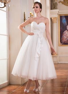 Forme Princesse Bustier en coeur Longueur mollet Tulle Charmeuse Robe de mariée avec Plissé Fleur(s) (002052651)