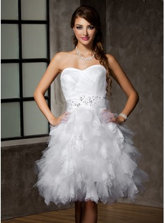 A-Line/Princess Sweetheart Knee-Length Satin Tulle Wedding Dress With Lace Beading Sequins Bow(s) Cascading Ruffles (002012778)