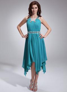 A-Linie/Princess-Linie Rechteckiger Ausschnitt Asymmetrisch Chiffon Festliche Kleid mit Rüschen Perlen verziert (020036575)