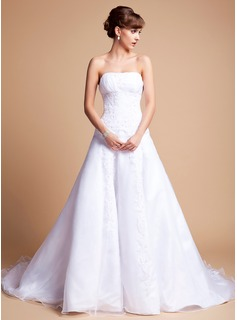 A-Line/Princess Strapless Chapel Train Organza Satin Wedding Dress With Ruffle Lace Beading (002012659)