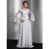 A-Linie/Princess-Linie V-Ausschnitt Kapelle-schleppe Chiffon Kleid für die Brautmutter mit Spitze Perlen verziert (008014736)