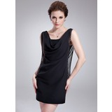 Sheath/Column Cowl Neck Short/Mini Chiffon Cocktail Dress With Ruffle Beading (016008403)