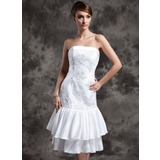 Sheath/Column Strapless Knee-Length Taffeta Lace Wedding Dress With Beading Sequins (002024077)