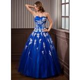 Duchesse-Linie Schatz Bodenlang Tüll Quinceañera Kleid (Kleid für die Geburtstagsfeier) mit Perlstickerei Applikationen Spitze Pailletten (021020924)