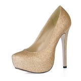 Vrouwen Sprankelende Glitter Stiletto Heel Closed Toe Plateau Pumps (047016463)