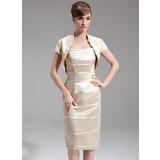 Etui-Linie Herzausschnitt Knielang Charmeuse Kleid für die Brautmutter (008006402)