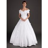 Duchesse-Linie Schulterfrei Bodenlang Satin Brautkleid mit Perlen verziert Applikationen Spitze Blumen (002015489)