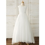 Ball-Gown/Princess Sweep Train Flower Girl Dress - Tulle/Lace Sleeveless Scoop Neck With Bow(s) (010183543)