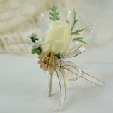 Hand-tied Satin/Silk Flower Boutonniere (Sold in a single piece) - (123200392)