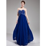 A-Line/Princess Sweetheart Floor-Length Chiffon Prom Dress With Beading Sequins Pleated (018004801)