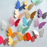Butterfly Design Colorful Pearl Paper Decorative Accessories (set of 12 packs) (131186043)