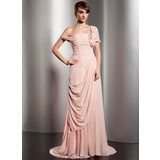 A-Line/Princess Off-the-Shoulder Watteau Train Chiffon Evening Dress With Ruffle Flower(s) (017014578)