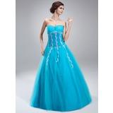 A-Linie/Princess-Linie Herzausschnitt Bodenlang Tüll Quinceañera Kleid (Kleid für die Geburtstagsfeier) mit Perlen verziert Applikationen Spitze Pailletten (021018808)