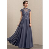 A-Line High Neck Floor-Length Chiffon Lace Evening Dress With Sequins (017192581)