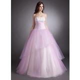Duchesse-Linie Trägerlos Bodenlang Tüll Quinceañera Kleid (Kleid für die Geburtstagsfeier) mit Perlen verziert Applikationen Spitze (021016256)