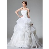 Ball-Gown Sweetheart Chapel Train Satin Organza Wedding Dress With Lace Beading (002000423)