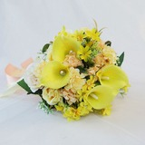 Round Artificial Flower Bridal Bouquets (Sold in a single piece) - Bridal Bouquets (123191647)
