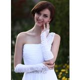 Elastic Satin Elbow Length Bridal Gloves (014003944)