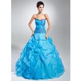 Duchesse-Linie Herzausschnitt Bodenlang Organza Quinceañera Kleid (Kleid für die Geburtstagsfeier) mit Bestickt Rüschen Perlen verziert Pailletten (021015109)