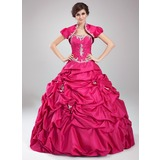 Duchesse-Linie Schatz Bodenlang Taft Quinceañera Kleid (Kleid für die Geburtstagsfeier) mit Rüschen Perlstickerei Applikationen Spitze Pailletten (021004559)