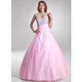 A-Linie/Princess-Linie Träger Bodenlang Tüll Quinceañera Kleid (Kleid für die Geburtstagsfeier) mit Rüschen Perlstickerei Pailletten (021004662)