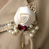 Hand-tied Satin Boutonniere (Sold in a single piece) - (123197540)