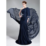 Forme Princesse Encolure asymétrique Traîne moyenne Mousseline Robe de soirée avec Plissé Emperler (017019762)