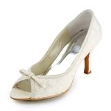Vrouwen Kant Stiletto Heel Peep Toe Sandalen met Strik (047005735)