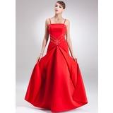 A-Linie/Princess-Linie Bodenlang Satin Festliche Kleid mit Perlen verziert (020025841)