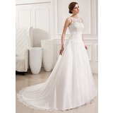 Balklänning Rund-urringning Court släp Chiffong Spetsar Bröllopsklänning med Rufsar (002019534)