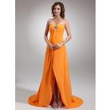 Empire Sweetheart Asymmetrical Chiffon Holiday Dress With Ruffle Beading (020025950)