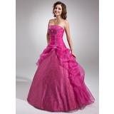 Duchesse-Linie Trägerlos Bodenlang Organza Quinceañera Kleid (Kleid für die Geburtstagsfeier) mit Perlstickerei Applikationen Spitze Pailletten (021004691)