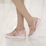 Frauen Lace Keil Absatz Keile mit Stich Spitzen Schuhe (116138273)