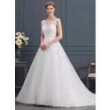 Ball-Gown/Princess Scoop Neck Court Train Tulle Wedding Dress With Beading Sequins (002171950)